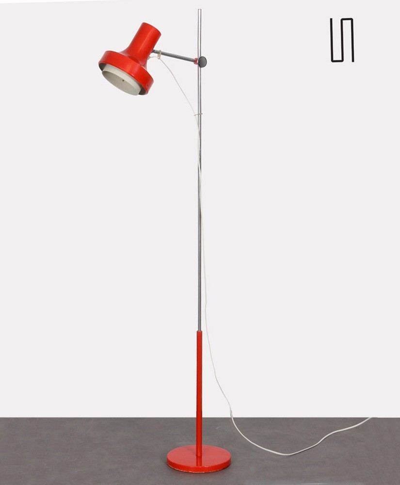 Red metal lamp produced by Napako in the 1970s