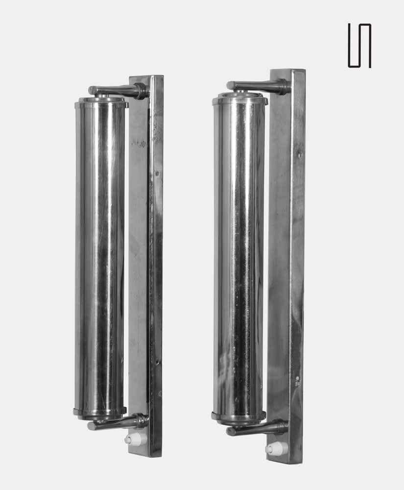 Pair of vintage chrome plated metal sconces by Napako, 1950s