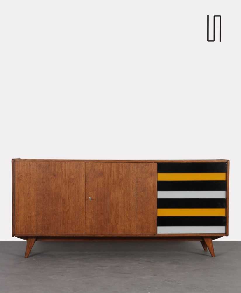 Wooden sideboard with yellow and black drawers by Jiri Jiroutek, 1960s