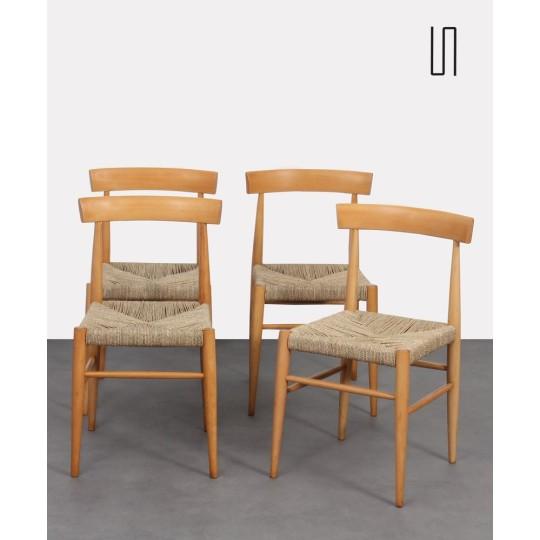 Suite de 4 chaises vintage en bois éditées par Uluv, 1960