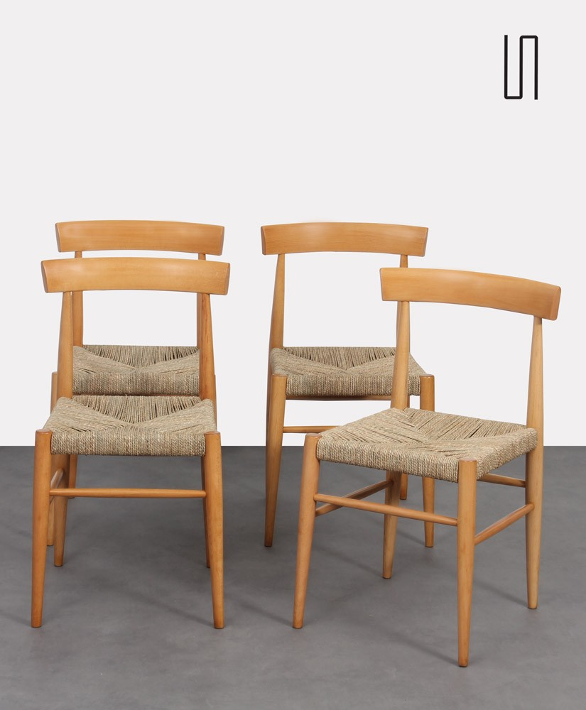 Suite of 4 vintage wooden chairs edited by Uluv, 1960s