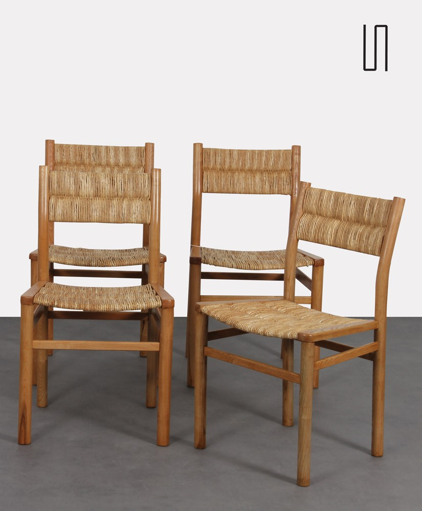 Suite of 4 chairs by Pierre Gautier-Delaye, model Week-End, 1950s