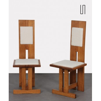 Pair of high chairs in wood and lambskin, Czech manufacture, 1950s