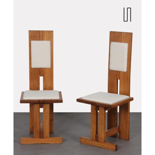 Paire de chaises hautes en bois et peau agneau, fabrication tchèque, 1950