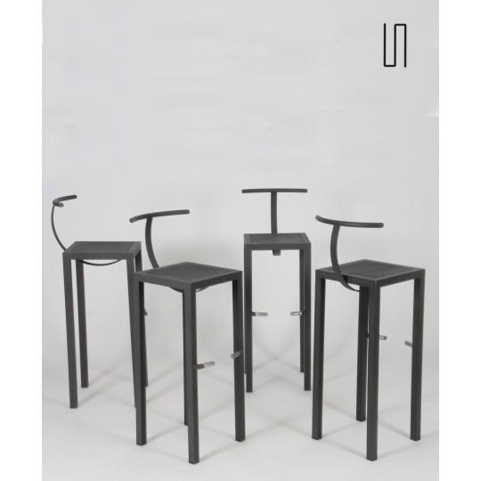 Suite de 4 tabourets hauts, modèle Sarapis par Philippe Starck, 1986