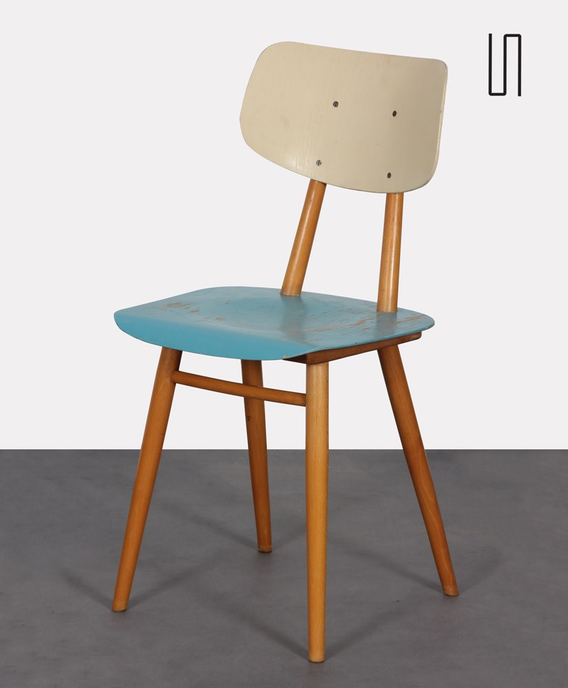 Vintage wooden chair with blue seat, edited by Ton, 1960