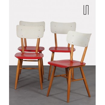 Suite of 4 vintage wooden chairs for the manufacturer Ton, 1960