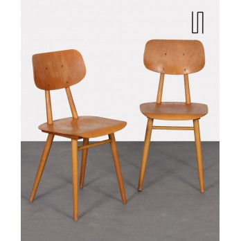 Pair of vintage wooden chairs produced by Ton, 1960s