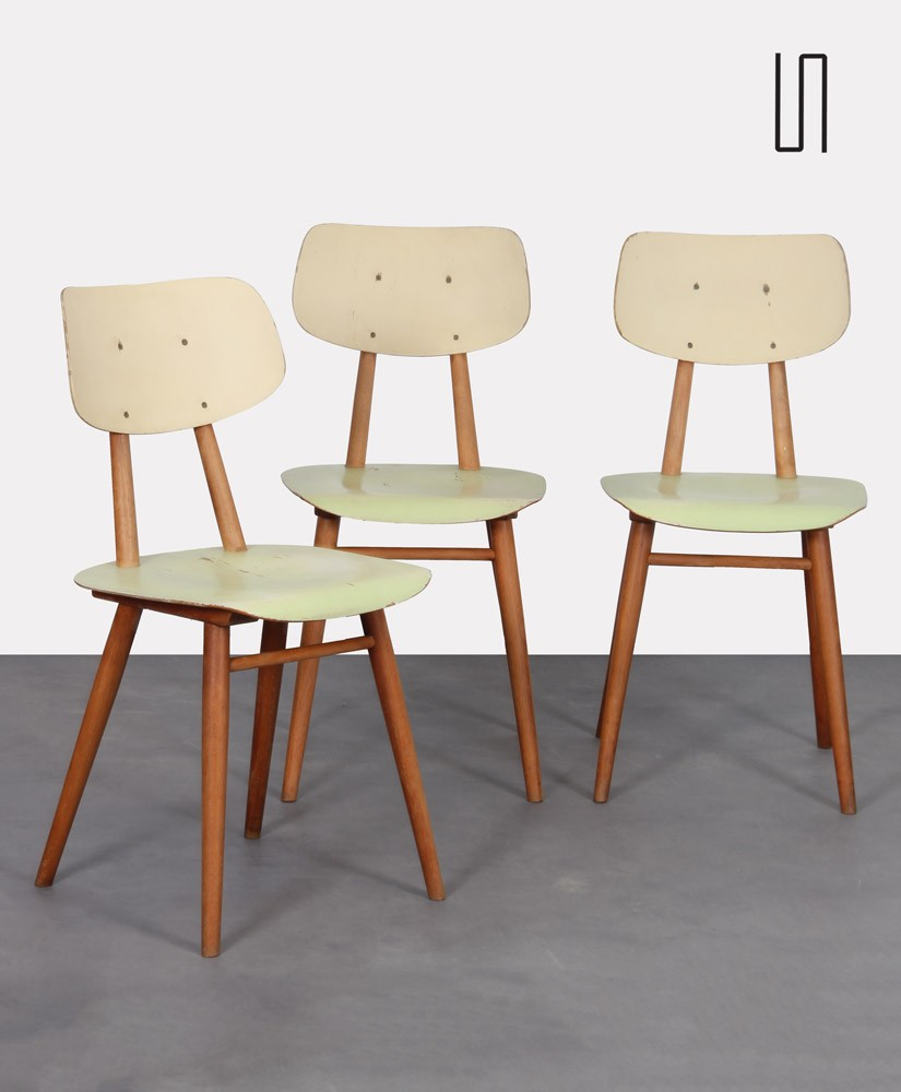 Suite of 3 vintage wooden chairs for the manufacturer Ton, 1960s