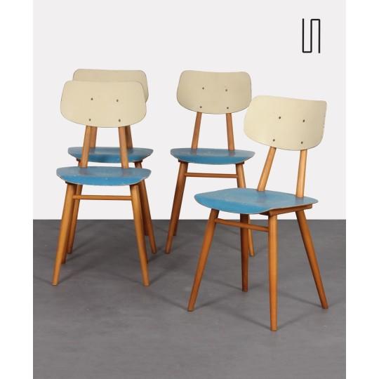 Suite de 4 chaises vintage éditées par Ton, 1960