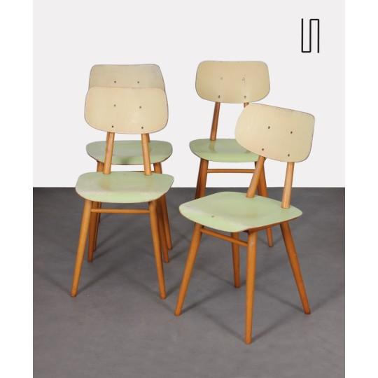 Suite de 4 chaises vintage en bois, éditées par Ton, 1960
