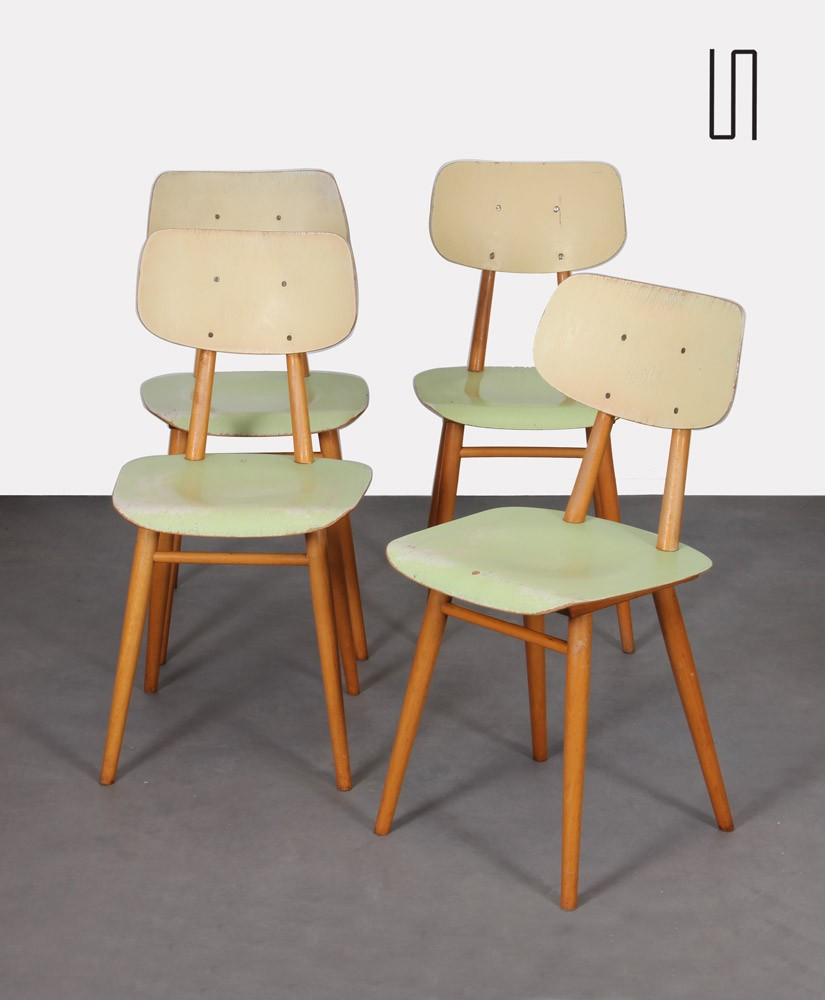 Suite of 4 vintage wooden chairs, edited by Ton, 1960s