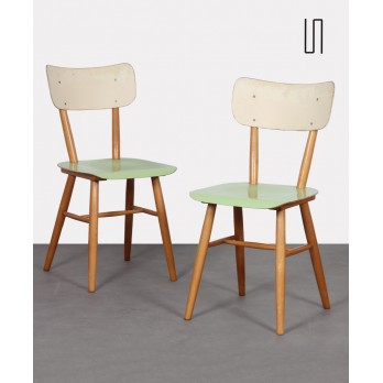Pair of vintage wooden chairs for the manufacturer Ton, 1960s