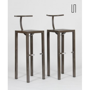 Pair of high stools, Sarapis model by Philippe Starck, 1986