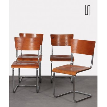Set of 4 metal chairs by Mart Stam, Czech manufacture, 1950s