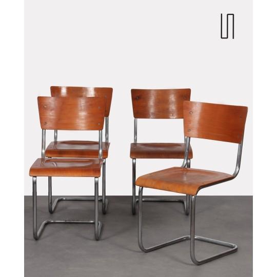 Suite de 4 chaises en métal par Mart Stam, fabrication tchèque, 1950