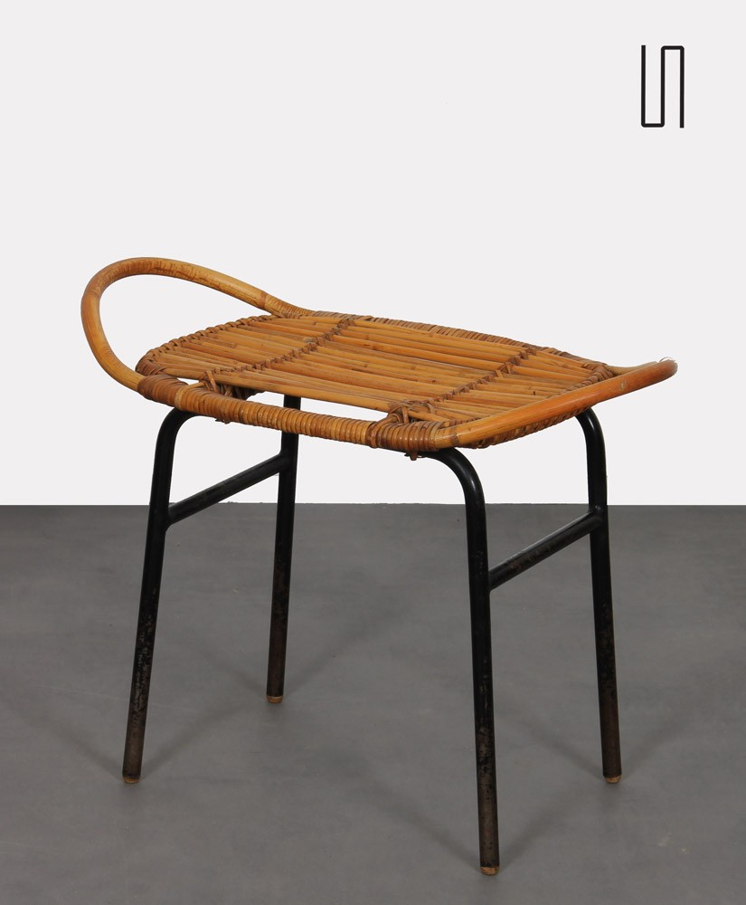Vintage rattan stool by Alan Fuchs for Uluv, 1960s