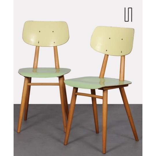 Paire de chaises vertes pour Ton, 1960