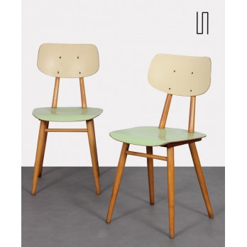 Pair of green chairs for Ton, 1960s