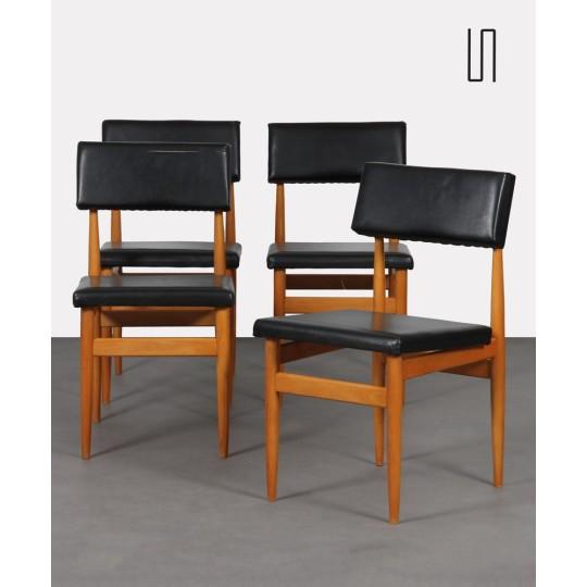 Suite de 4 chaises vintage, fabrication tchèque, 1970