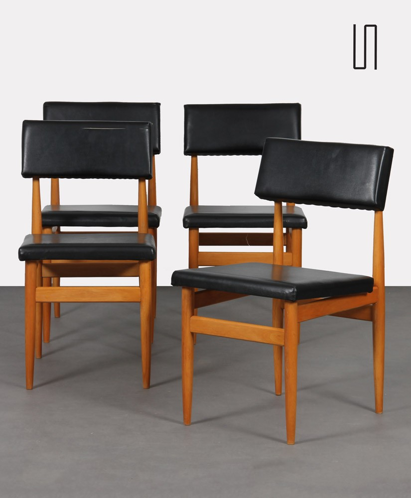 Suite of 4 vintage chairs, Czech manufacture, 1970s