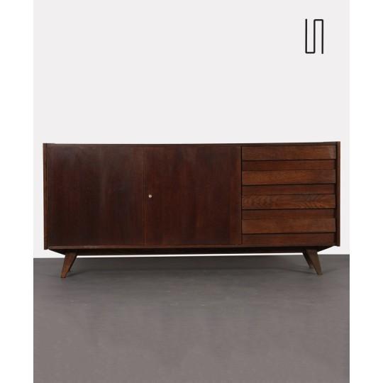 Large dark oak chest of drawers by Jiri Jiroutek, U-460, 1960s