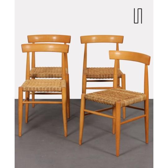 Suite de 4 chaises vintage en bois éditées par Krasna Jizba, 1960
