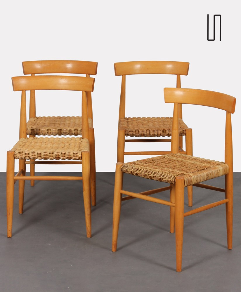 Suite of 4 vintage wooden chairs edited by Krasna Jizba, 1960s
