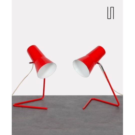 Paire de lampes vintage par Josef Hurka pour Drupol, 1960