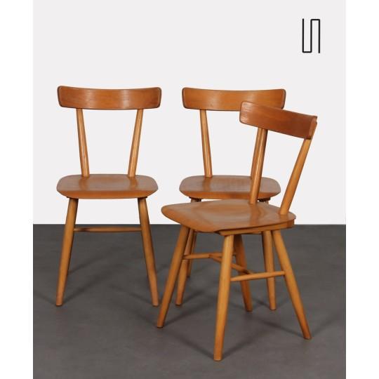 Suite de 3 chaises vintage éditée par Ton, 1960