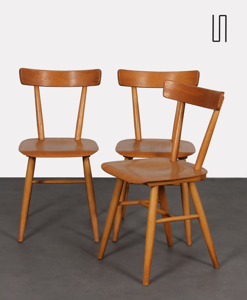 Suite of 3 vintage chairs edited by Ton, 1960s