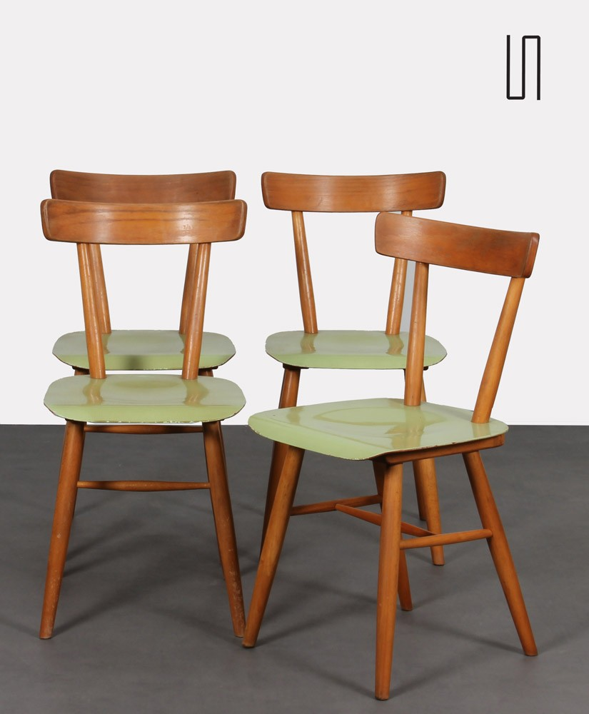 Suite of 4 green chairs edited by Ton, circa 1960
