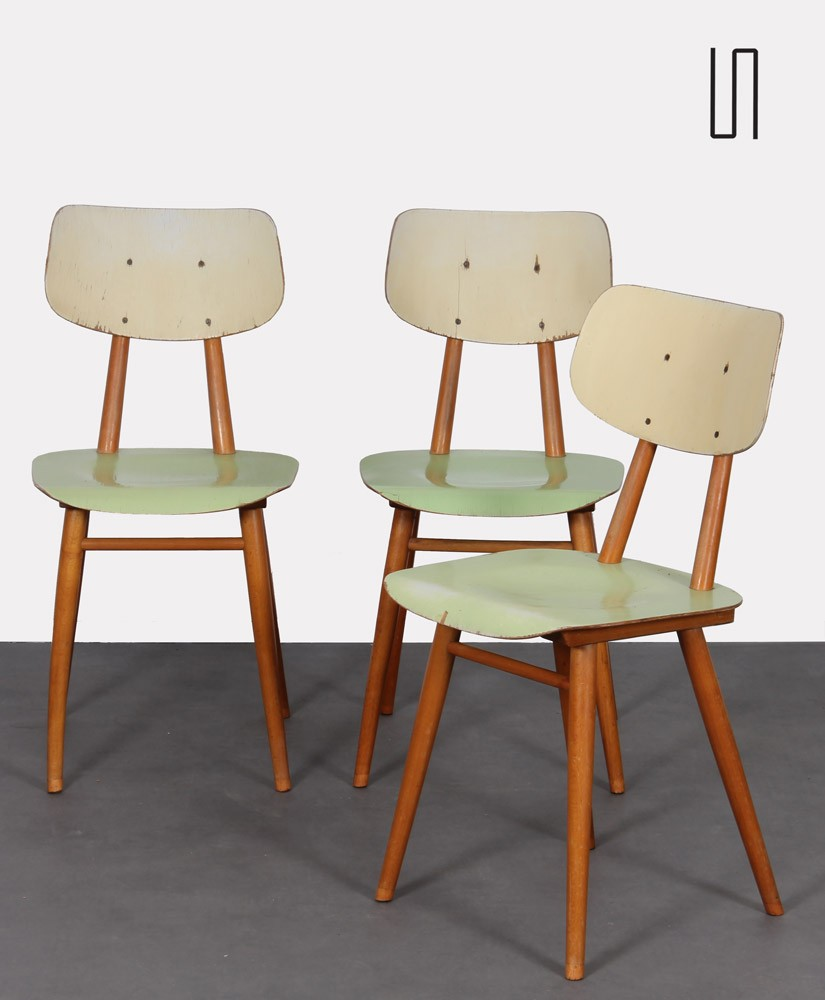 Suite of 3 chairs produced by Ton in the 1960s