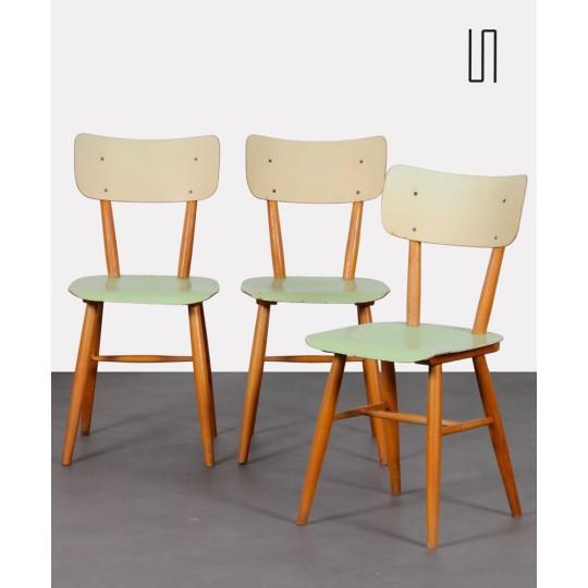 Ensemble de trois chaises vintage tchèques, 1960
