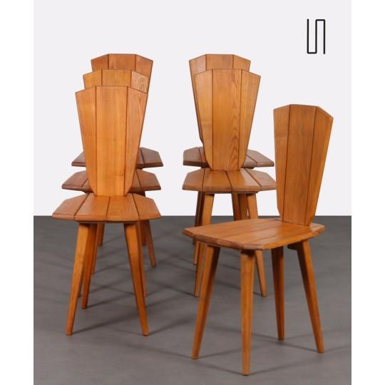 Suite de 6 chaises par Franciszek Aplewicz pour LAD, 1960