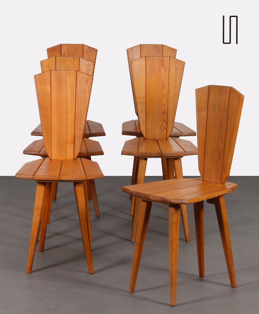 Suite of 6 chairs by Franciszek Aplewicz for LAD, 1960s