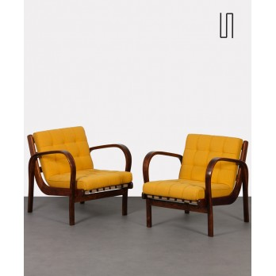 Pair of vintage armchairs by Kropacek and Kozelka, 1944