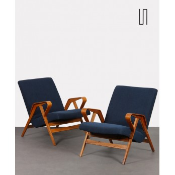 Pair of vintage wooden armchairs for Tatra Nabytok, 1960s