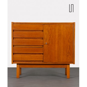 Small vintage oak chest of drawers, Czech design from the 1970s