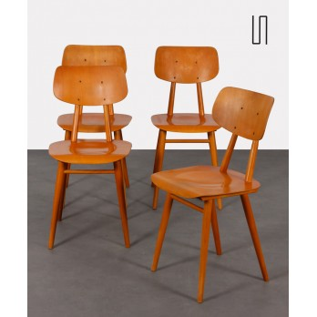 Set of 4 wooden chairs produced by Ton, 1960s