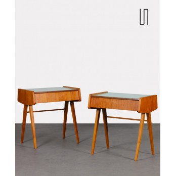 Pair of vintage night tables, wood and formica, 1970s